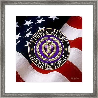 Purple Heart Over American Flag Framed Print