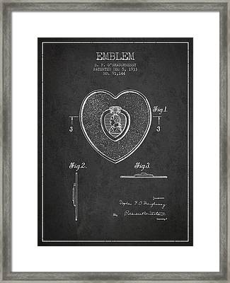 Purple Heart Patent From 1933 - Charcoal Framed Print by Aged Pixel