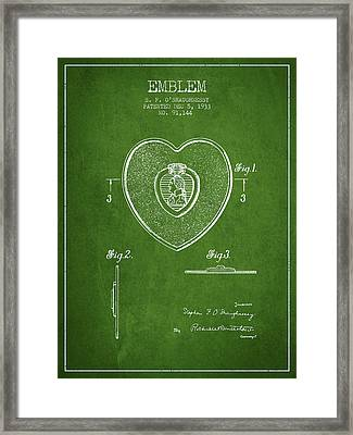 Purple Heart Patent From 1933 - Green Framed Print by Aged Pixel