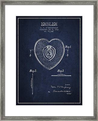 Purple Heart Patent From 1933 - Navy Blue Framed Print by Aged Pixel