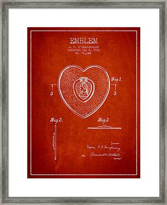 Purple Heart Patent From 1933 - Red Framed Print by Aged Pixel