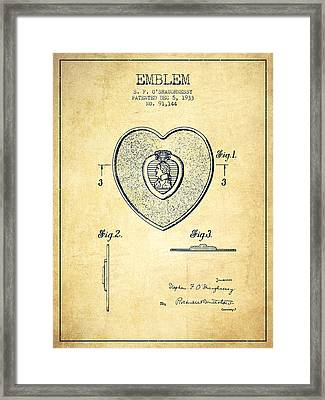 Purple Heart Patent From 1933 - Vintage Framed Print by Aged Pixel