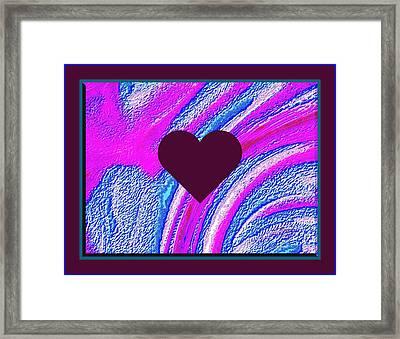 Purple Heart Twirl Triple Border Valentine Large Signature Framed Print