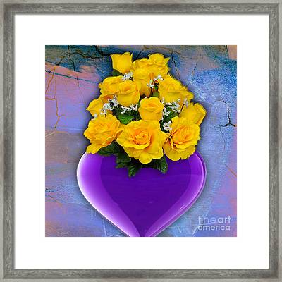 Purple Heart Vase With Yellow Roses Framed Print