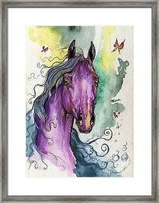 Purple Horse Framed Print by Angel  Tarantella