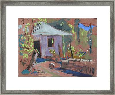 Framed Print featuring the painting Purple House by Linda Novick