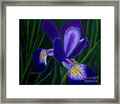 Framed Print featuring the painting Purple Iris by Barbara Griffin
