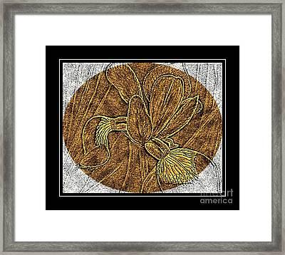 Purple Iris - Brass Etching Framed Print by Barbara Griffin