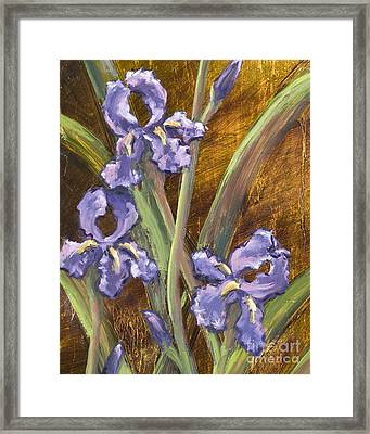 Purple Iris II With Gold Leaf Framed Print by Vic  Mastis