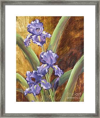 Purple Iris With Gold Leaf By Vic Mastis Framed Print