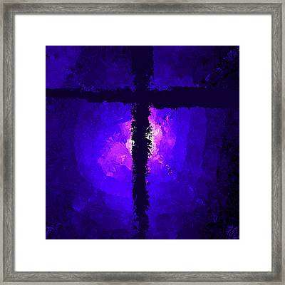 Purple Light Behind The Cross Framed Print