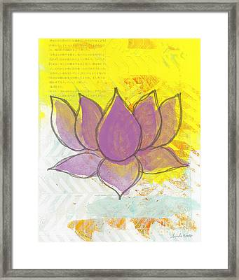 Purple Lotus Framed Print by Linda Woods
