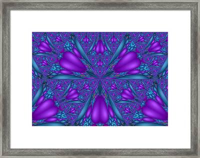 Purple Mixed Fractal Flower Framed Print