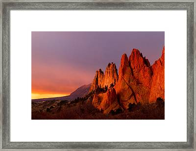 Purple Morning At Garden Of The Gods Framed Print