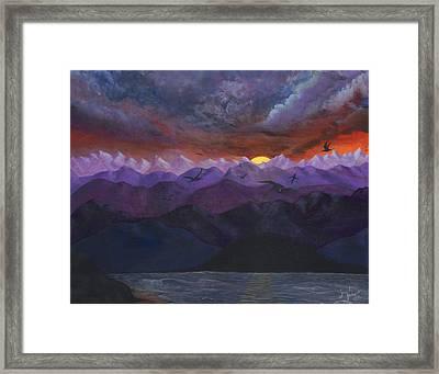 Purple Mountain Sunset Framed Print by Sandy Jasper