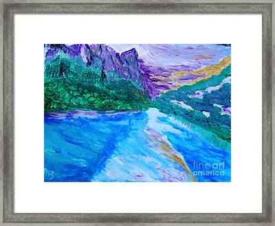 Purple Mountins With A Touch Of Gold Framed Print by Marie Bulger