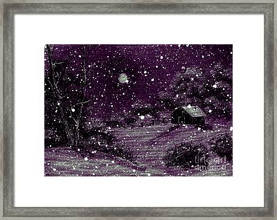 Purple Night Full Moon Framed Print by Barbara Griffin