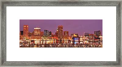 Purple Night In Baltimore Framed Print
