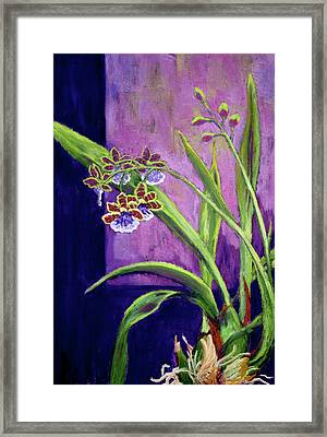 Framed Print featuring the painting Purple Orchids by Nancy Jolley