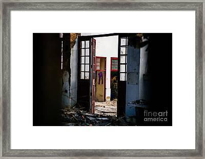 Purple Pants Framed Print by Dean Harte