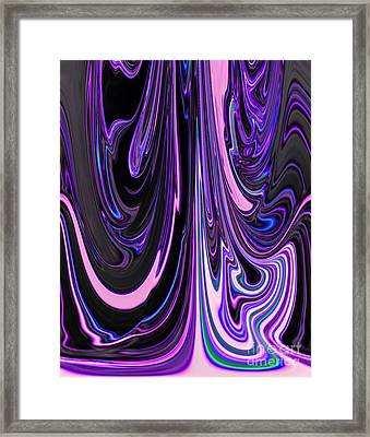 Purple Pink And Black Flowing Colors Creative Abstract Design Art Framed Print by Adri Turner