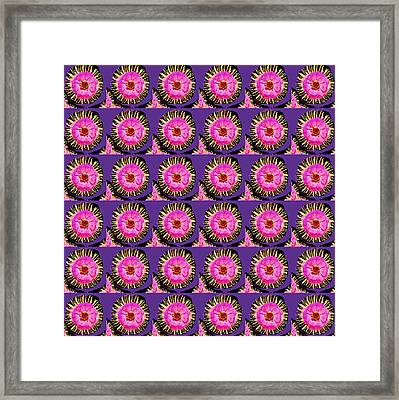 Purple Pink Flower Pattern Decoration Background Designs  And Color Tones N Color Shades Available F Framed Print