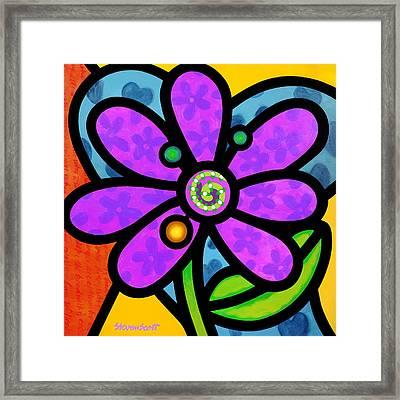 Purple Pinwheel Daisy Framed Print by Steven Scott