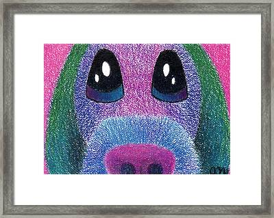 Purple Pup Framed Print by Annie Nelson