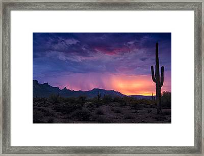 Purple Rain And Pink Skies  Framed Print