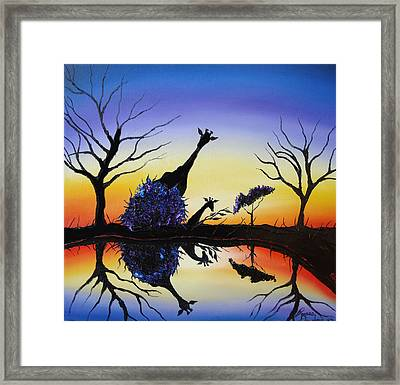 Purple Reflection Of Serengeti Framed Print by Portland Art Creations