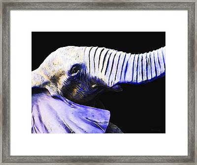 Purple Rein - Vibrant Elephant Head Shot Art Framed Print
