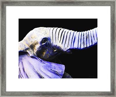Purple Rein - Vibrant Elephant Head Shot Art Framed Print by Sharon Cummings