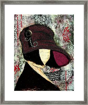 Purple Retro Style Hat With Abstract Background Framed Print