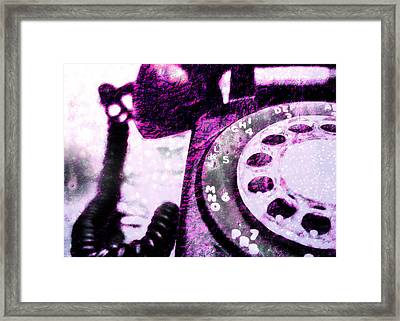 Purple Rotary Phone Framed Print