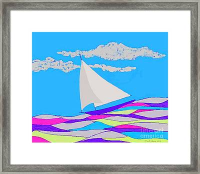 Purple Sailboat Framed Print