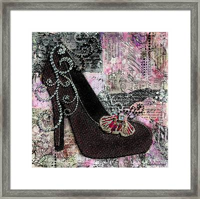 Purple Shoes With Butterfly On Pink Purple Abstract Background Framed Print