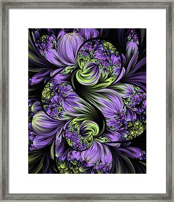 Purple Silk Flowers Framed Print by Lea Wiggins