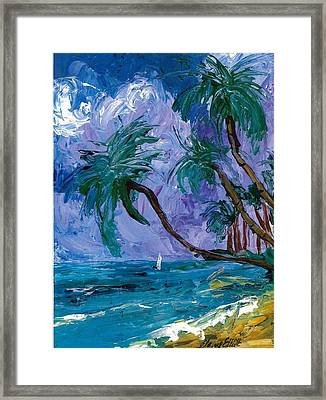 Purple Sky Palms Framed Print