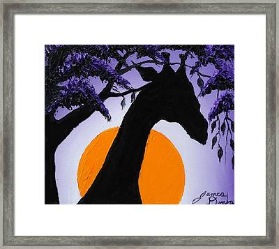 Purple Sun Giraffe Framed Print by Portland Art Creations