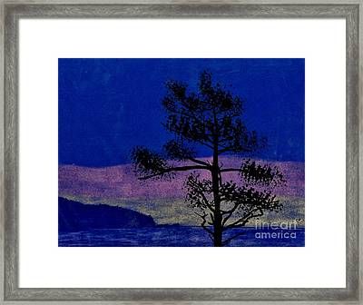 Framed Print featuring the drawing Purple Sunset Bay by D Hackett
