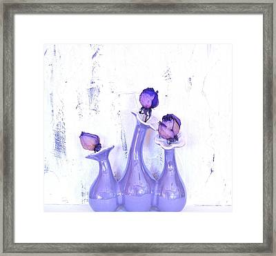 Purple Vases And Roses Framed Print by Marsha Heiken