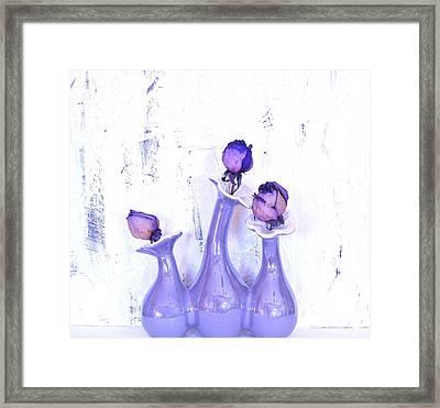 Purple Vases And Roses Framed Print by Marsha Heiken