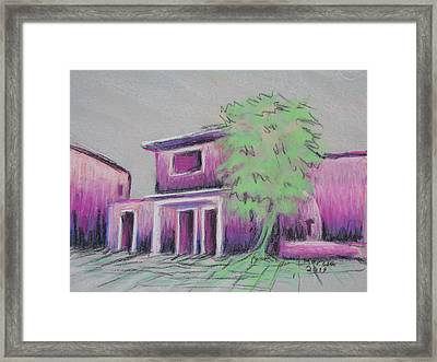Purple Village Framed Print by Marcia Meade
