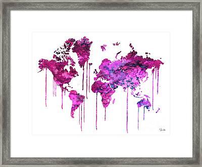 Purple Watercolor Map Framed Print by Luke and Slavi