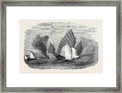 Pursuit Of A Chinese Pirate By The Boats Of H Framed Print