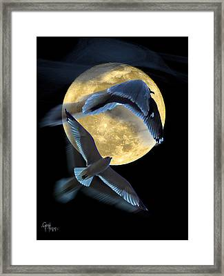 Pursuit Over The Moon. Framed Print
