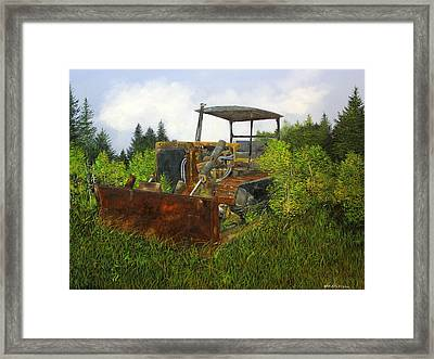 Push Over Framed Print by Ken Ahlering
