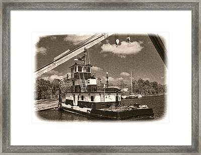 Push That Barge Framed Print by Barry Jones