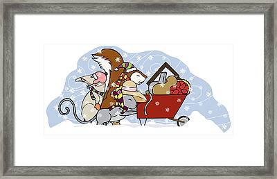 Pushing The Wheelbarrow Framed Print by Christy Beckwith