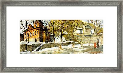 Pushkin Street The First Snow Framed Print by Jake Hartz